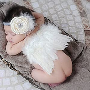 CIARAQ Feather Angel Wings Rhinestone Headband Set Baby Chiffon Flower Headband Hair Accessories Newborn Photo Prop Costume