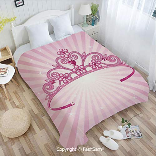PUTIEN 3D Print Flannel Blanket Beautiful Pink Fairy Princess Costume Print Crown with Diamond Image Art Decorative for Fun Playroom Decorations(39Wx49L) -