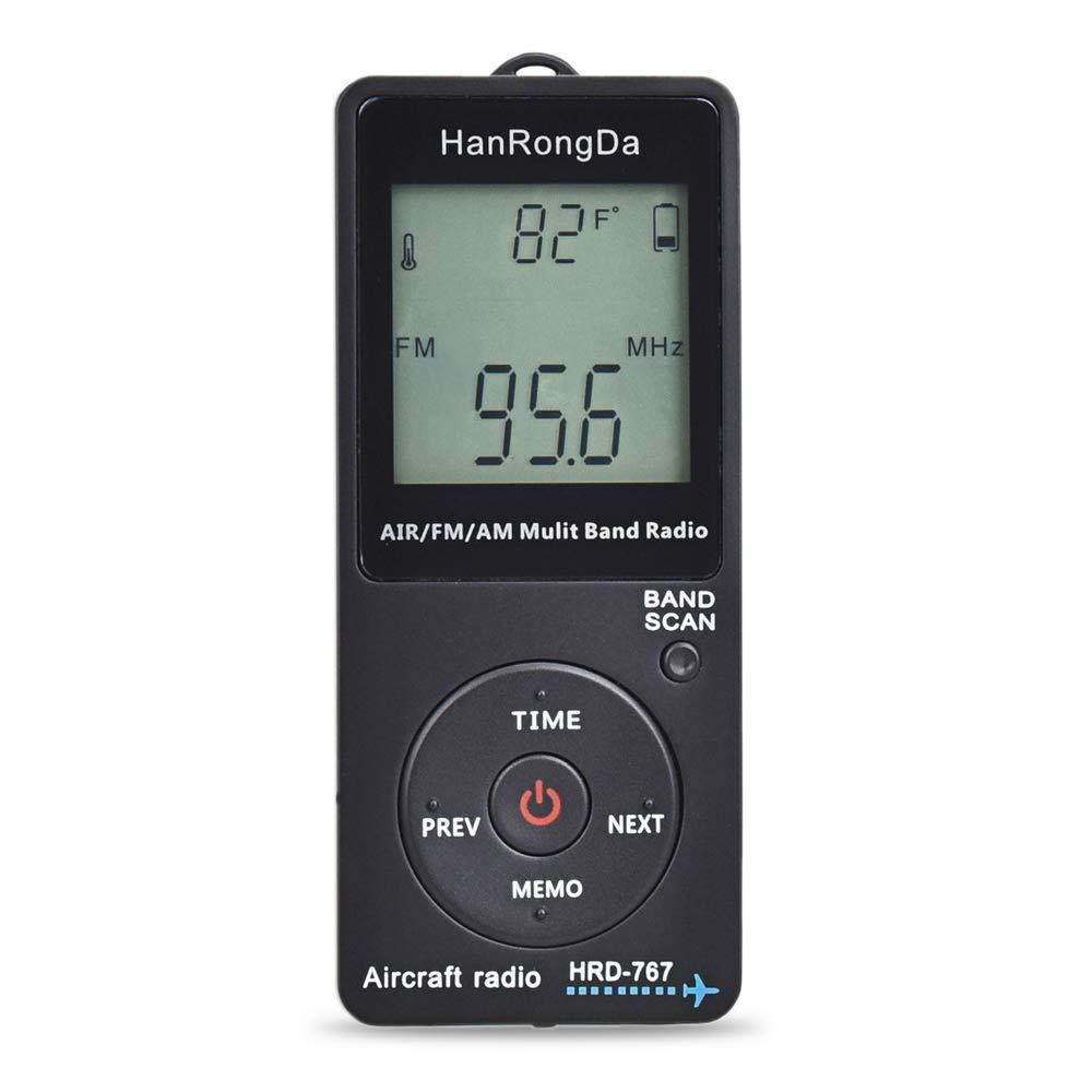 Gamogo HRD-767 FM//AM//AIR Radio multibanda Banda radio Ricevitore radio Display LCD nero illuminato Pulsante di blocco con cuffia Custodia per cordino