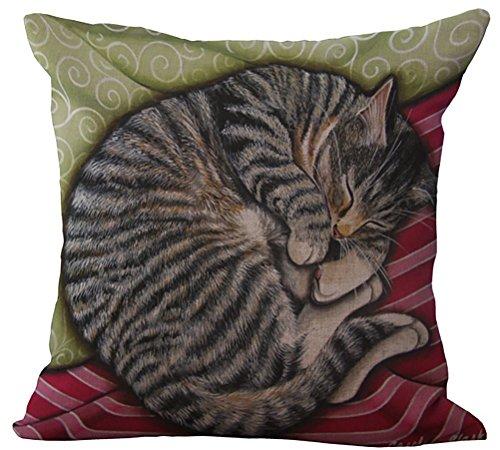 ChezMax Linen Blend Sleepy Cats Pattern Cushion Cover Cotton Pillowslip Square Decorative Throw Pillow Case 18 X 18
