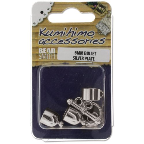 (Beadsmith Kumihimo Bullet Finding Set, 6mm, Silver Plated)
