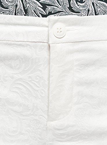 Pantaloni Collection Donna Bianco In Jacquard Stretti Oodji 1200n 4a6wqPR