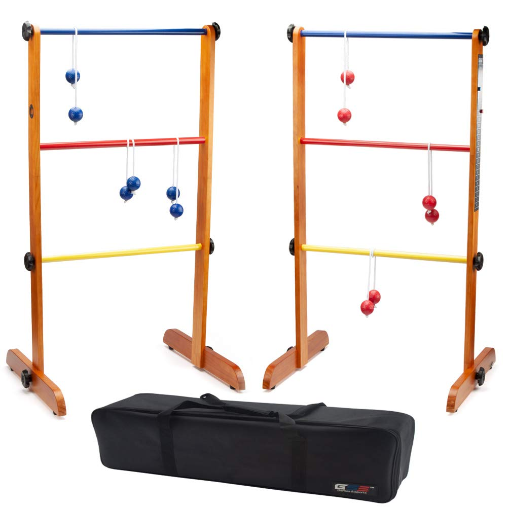 GSE Games & Sports Expert Premium Solid Wood Ladder Ball Toss Outdoor Lawn Game Set with Ladderball Bolas & Carrying Case