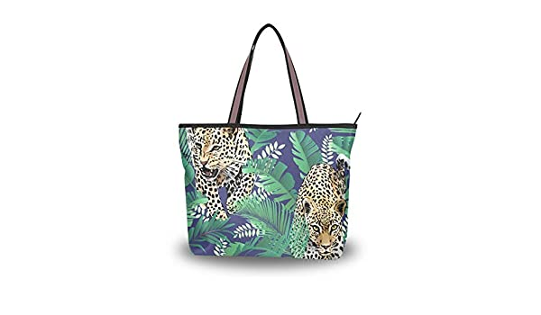 Tropical Leaves Jaguar Leopard Womens PU Leather Tote Shoulder Bags Handbags Casual Bag