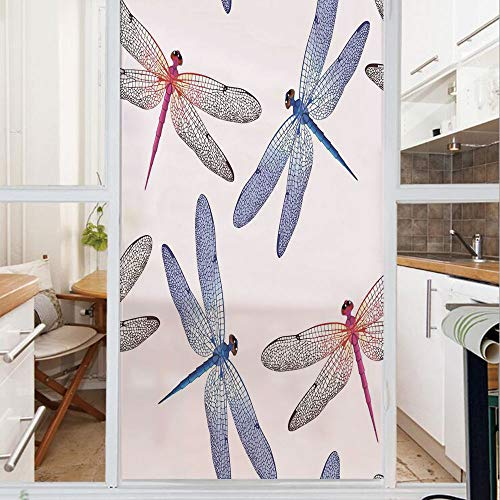 Decorative Window Film,No Glue Frosted Privacy Film,Stained Glass Door Film,Dragonfly Forms High Detailed Ornate Irregular Macro Retro Simplistic Artsy Print,for Home & Office,23.6In. by 78.7In Pink B