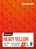 Clearprint Heavy Vellum Pad, 48 LB, 180 GSM, 9 x 12 Inches, 25 Sheets Per Pad, 1 Each (26321511011)