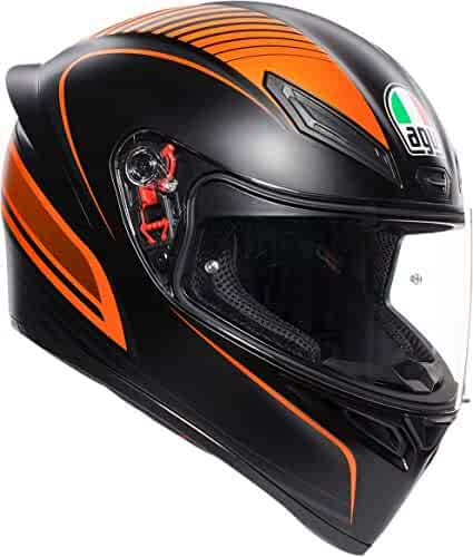 ba05ae6f AGV Unisex-Adult Full Face K-1 Warmup Motorcycle Helmet Black/Orange Medium