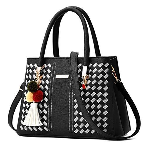 Bag 8 with Handbag Black Woven Color Shoulder Pu Ladies Pendant White qU7q6waH