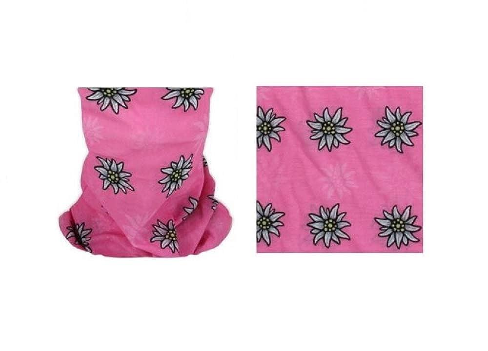 Sonnenscheinschuhe/® Multifunktionstuch Edelweiss rosa Schlauchtuch Oktoberfest Enzian Tuch Halstuch Alpin