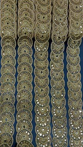 Trim by The Yard Costume Trim Decorative Ribbon Metallic Ribbon Beaded Trim Gold Kundan Lace Crafting Sewing Trimmings Border (Pink- (Hand Beaded Pink Ribbon)