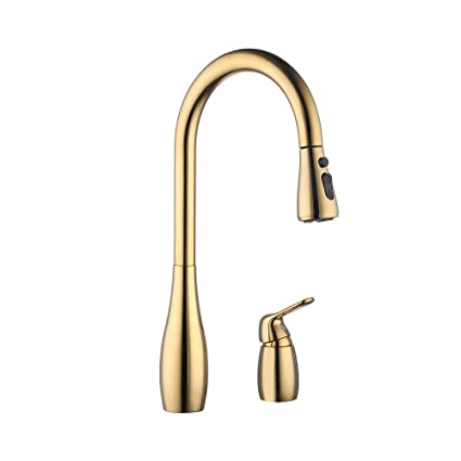 KES Kitchen Pull Down Sink Faucet Lead-Free Brass 3 Hole Gooseneck Kitchen  Faucet Sprayer Single Handle Gold, L6981LF-PG
