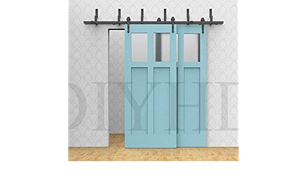 6 ft/6.6ft Bypass – Puerta Corredera de madera Granero Track hardware Kit Arrow rústico Negro Granero Interior de armario puerta corredera puerta de madera de partición hardware: Amazon.es: Bricolaje y herramientas