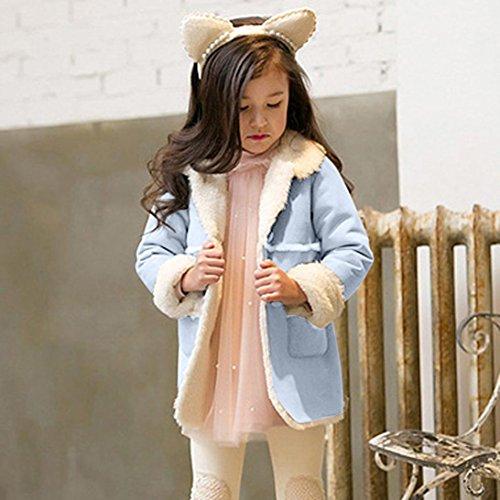 Franterd Baby Girls Winter Jacket Fur Collar Solid Warm Winter Thickening Fur Inside Coats (Blue, 3T) by Franterd (Image #1)'