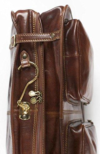 Kleidersack als Umhängetasche - Aus italienischem Echtleder - Handgepäcksgröße - Braun