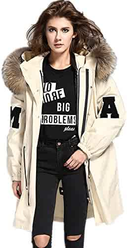 9648aa31766d8 Melody Women s Loose Large Raccoon Fur Collar Hood Long Coat Parkas  Detachable Lining Winter Jacket