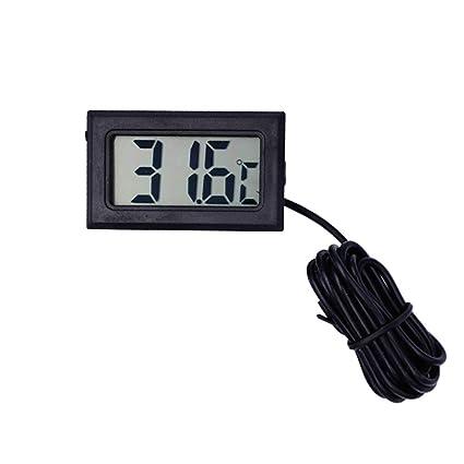 PUAO - Termómetro digital LCD con indicador de temperatura celsius, termómetro para acuario con sonda