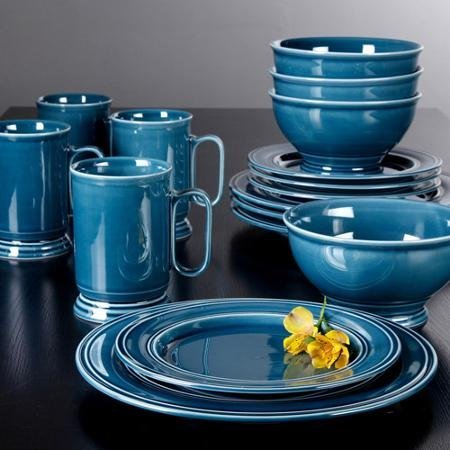 Admiraware 16-piece Dinnerware Set, Round Blue Features Tran