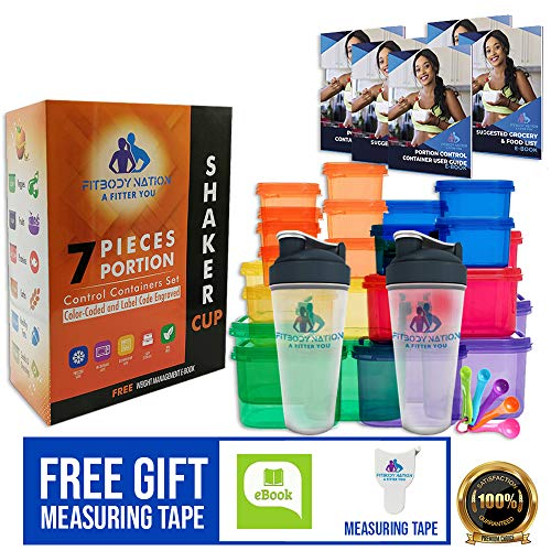 28pcs 21 Day Portion Control Containers (Color-Coded, Label-Engraved) for Meal Prep Storage With 2 Protein Shaker Bottle(Mixer Ball), Measuring Tape, Spoons, Ebook Weight-Loss Diet Plan, Recipes