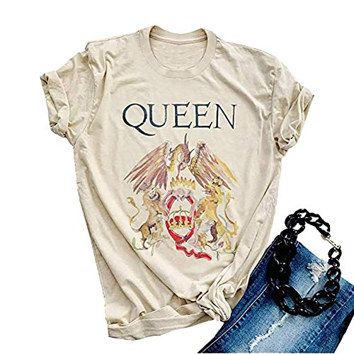 GEMLON Vintage Queen Shirt Music Concert Graphic Tees Letter Print Short Sleeve Summer Tops (Beige, L) - Music Graphic Tees
