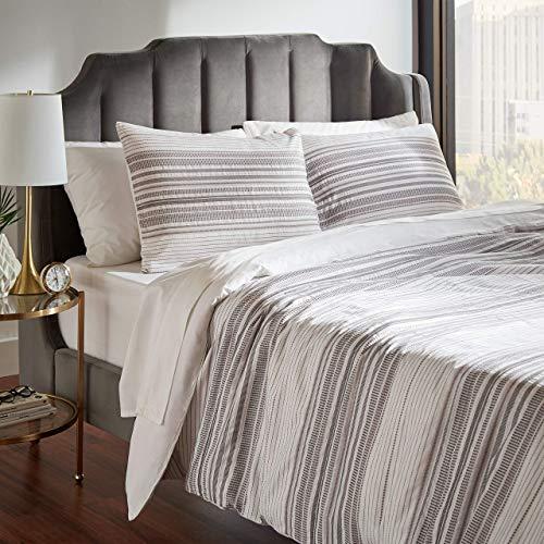Rivet Modern Stripe Duvet Cover and Sham Set - Full or Queen, Grey