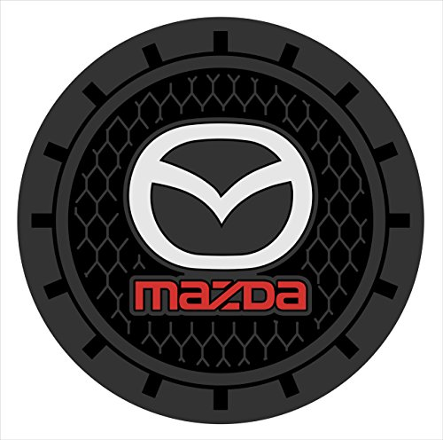 Auto sport 2.75 Inch Diameter Oval Tough Car Logo Vehicle Travel Auto Cup Holder Insert Coaster Can 2 Pcs Pack (Mazda)