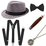 BABEYOND 1920s Mens Gatsby Costume Accessories Set 30s Panama Hat Elastic Y-Back Suspender Pre Tied Bow Tie Pocket Watch and Plastic Cigar (Gray Set