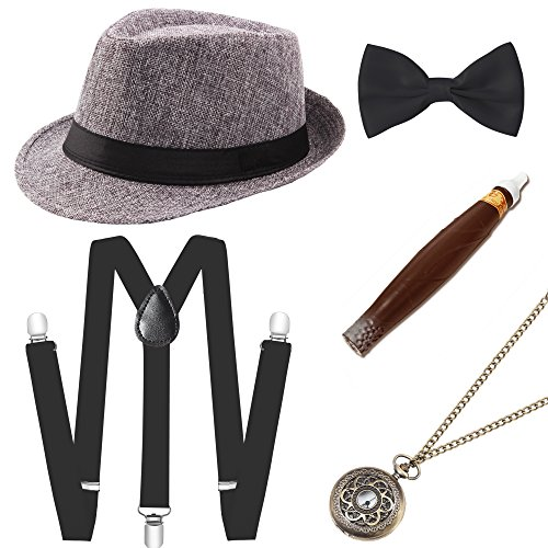 BABEYOND 1920s Mens Gatsby Costume Accessories Set 30s Panama Hat Elastic Y-Back Suspender Pre Tied Bow Tie Pocket Watch and Plastic Cigar (Gray Set]()