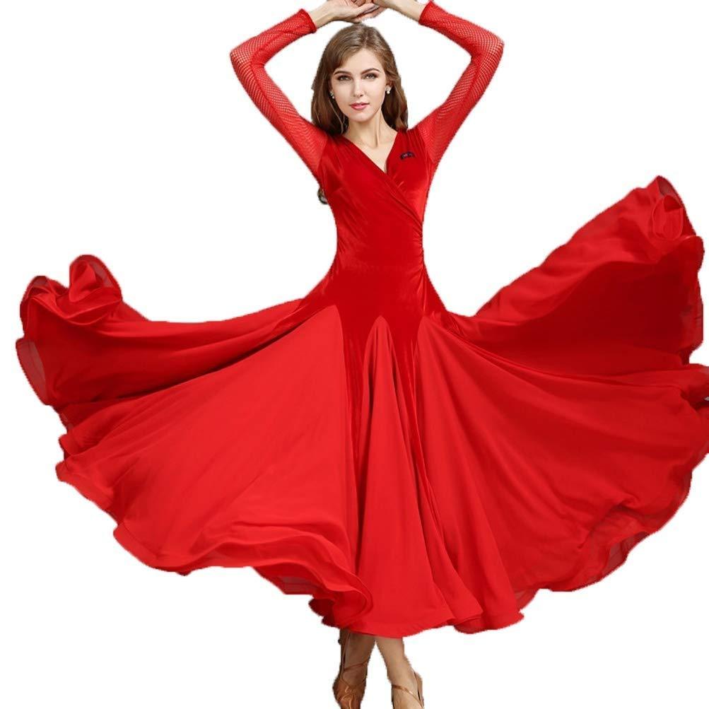 今季一番 大人の女の子現代のワルツタンゴ滑らかな社交ダンスのドレス標準的な民族衣装V襟長袖ベルベット社交サルサダンスパフォーマンスドレス B00DBLJAEW XL|レッド レッド レッド XL XL|レッド XL, カニタマチ:c0e65ab0 --- a0267596.xsph.ru