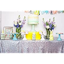 """60""""x120"""" Sparkly silver Square Sequins Wedding Tablecloth, Sparkly 6FT-8FT Overlays Table cloth for Wedding, Event"""