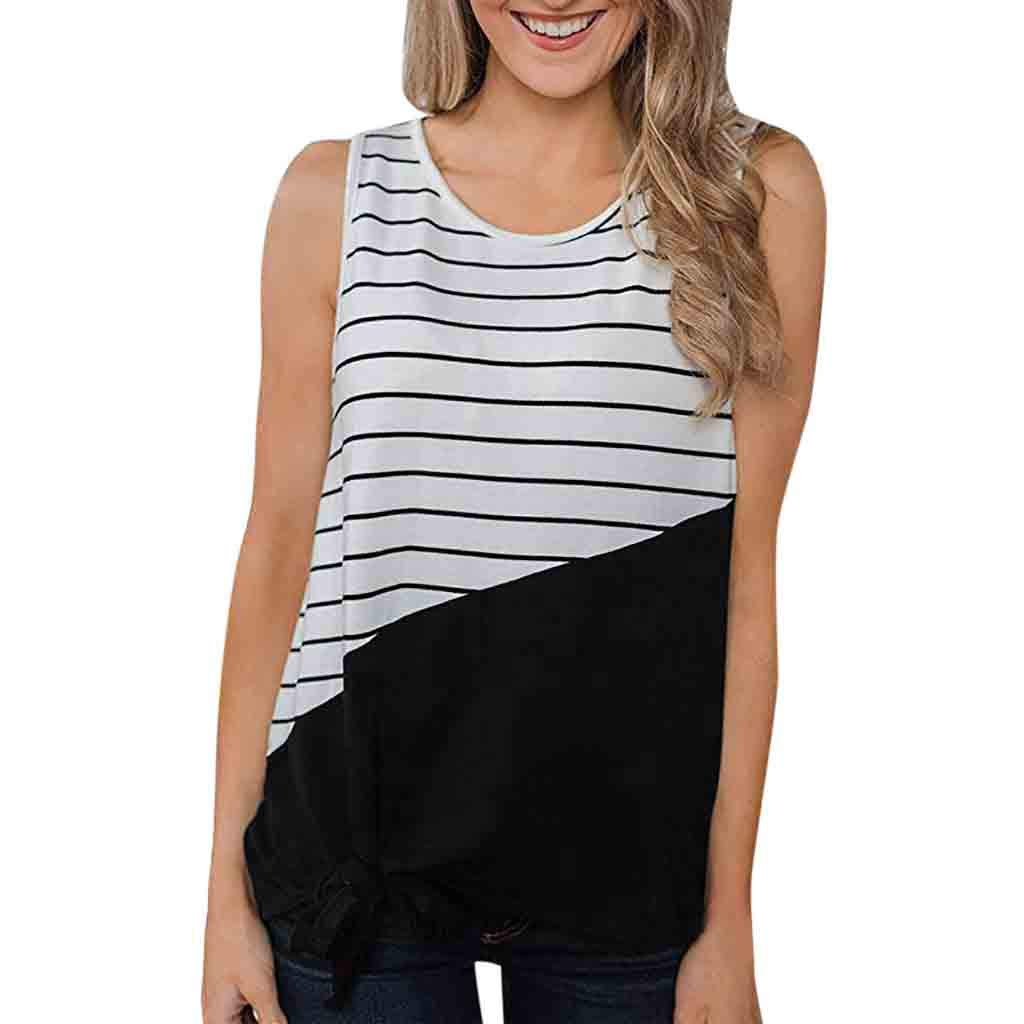 Sunmoot Clearance Sale Striped Patchwork Tank Tops for Women Summer Casual Crew Neck Sleeveless T-Shirt Blouse Vest