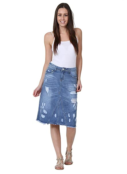 Gonna di jeans midi Dettaglio abrasione gonna denim midi gonna alla moda  PAULA  Amazon.it  Abbigliamento 6e6e45c3a8d