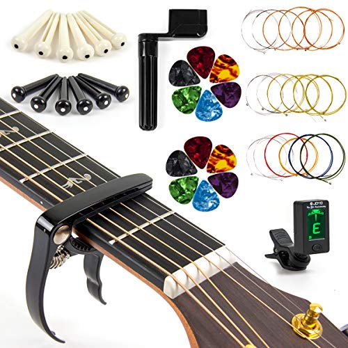 Acoustic Guitar Strings Changing Kit Tool Kit (Strings Tuner Picks Capo Pins String Cutter and ()
