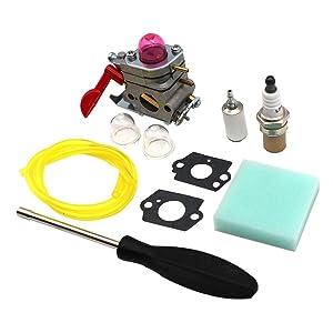 KIPA Carburetor Maintence Kit for Poulan Husqvarna 530071811 P4500 P4500E PP26E PP025 PP125 PP258TP PP258TPC PP325 SM705 SM706 Trimmer Pole Pruner ZAMA C1U-W19 358.791530 25cc Craftsman Weedeater