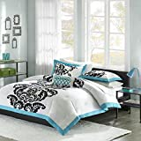 Mi Zone - Florentine Cotton Duvet Cover Set - Blue - Full/Queen - Damask Print - Includes  1 Duvet Cover , 1 Decorative Pillow , 2 Shams