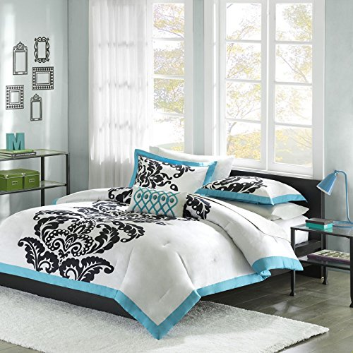 Florentine Cream (Mi-Zone Florentine Teen Girls Duvet Cover Set Twin/Twin Xl Size - Blue, Black, White, Damask – 3 Piece Duvet Covers Bedding Sets – 100% Cotton Girls Bedding Bed Sets)