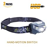 Oileus Outdoor Light Headheld 2 Packs Bright Flash Cree LED Headlamp Gesture Control Switch 500 lumens 300 Yards Rechargeable Lightweight 2.4 oz Waterproof 30 Hours Running Camping Hiking Everyday