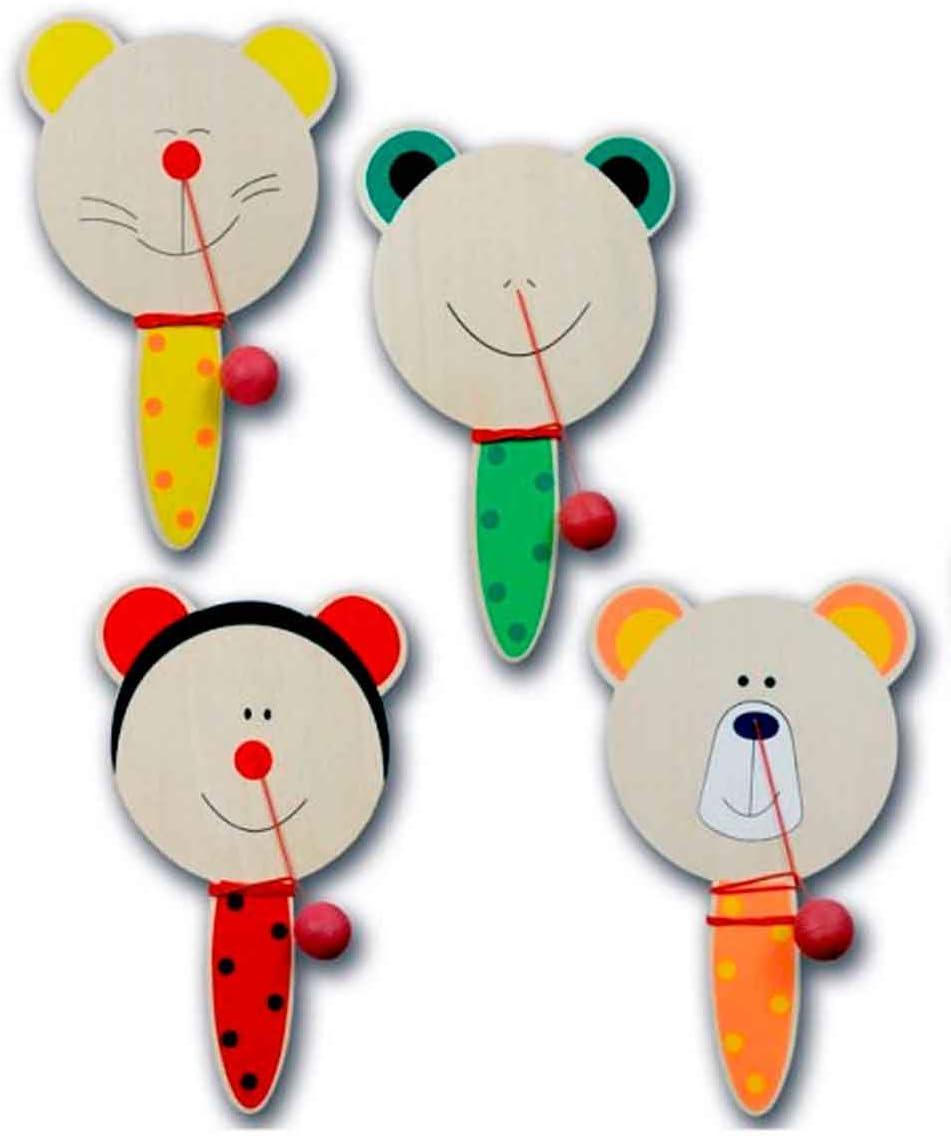 Lote de 4 Palas en Madera con Divertidas Caras animalitos, con una Pelota de Goma sujeta a un elástico. Regalos para Fiestas Infantiles, Regalos veraniegos.
