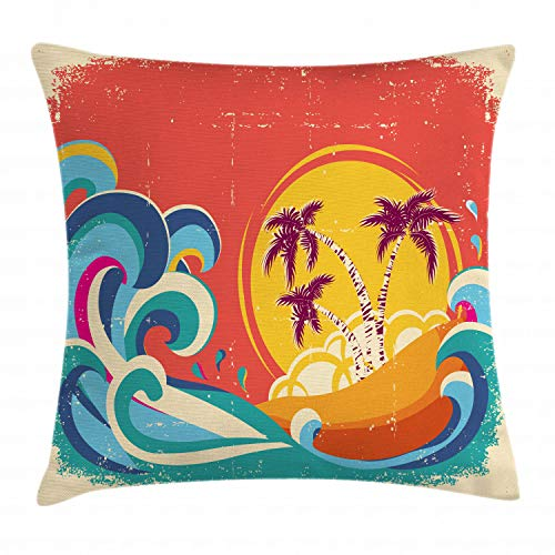 Lunarable Vintage Hawaii Throw Pillow Cushion Cover, Vintage Old Paper Style Tropical Island with Giant Waves Retro Background, Decorative Square Accent Pillow Case, 20