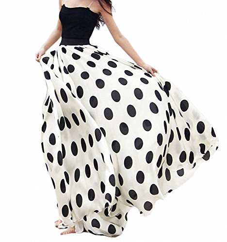 Afibi Femmes Mousseline Mopping Sol Longueur Gros Ourlet Solide Plage Taille Haute Maxi Jupe Blanc Point