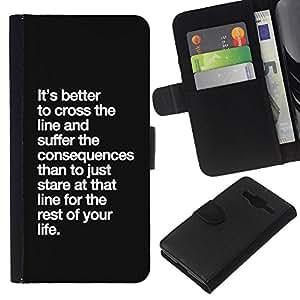 KingStore / Leather Etui en cuir / Samsung Galaxy Core Prime / Conséquences de Life Line Inspirational
