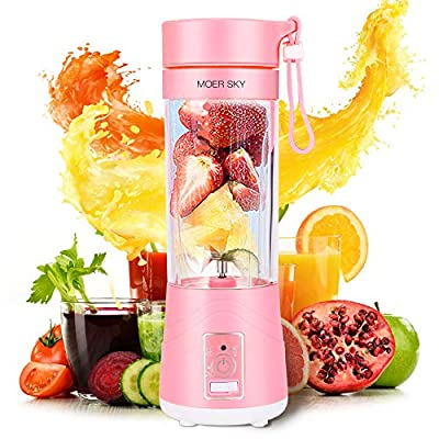 Portable Blender, Personal Smoothie Mini Mixer Juicer Cup, 380ml Fruit Mixing Machine, USB Recharging, Detachable, for Office/Sports/Trip(Pink)