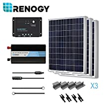RENOGY® Solar Panel Complete Kit 300W Poly: Three 100W Poly Solar Panel+One 30A PWM Charge Controller+One Battery Inverter 1000W+Two Pairs MC4 Branch Connectors+One Pair 20Ft MC4 Solar Adaptor Kit+One Pair 8Ft 10AWG Tray Cable+Three Sets Z Brackets