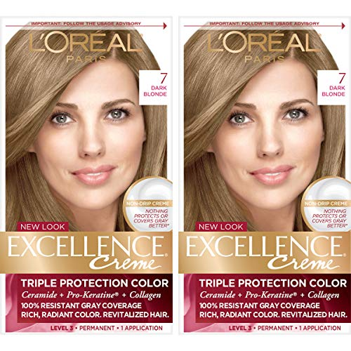 L'Oreal Paris Excellence Creme Permanent Hair Color, 7 Dark Blonde, Pack of 2 100% Gray Coverage Hair Dye