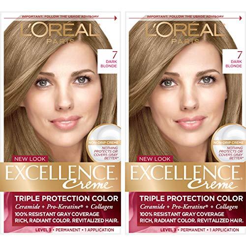 L'Oréal Paris Excellence Créme Permanent Hair Color, 7 Dark Blonde, 2 COUNT 100% Gray Coverage Hair Dye