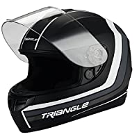 Triangle Full Face Matte Black/White Street Bike Motorcycle Helmet [DOT] (Large) by Jinhua Bokai Motorcycle Fitting co.,LTD