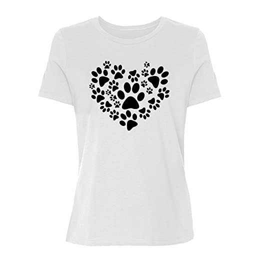 79b3a413709a Amazon.com: Womens Love Paw Print in Heart T-Shirt Paw Print ...