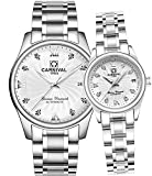 CARNIVAL Mechanical Couple Watches Men and Women His or Hers Gift Set of 2 (White)