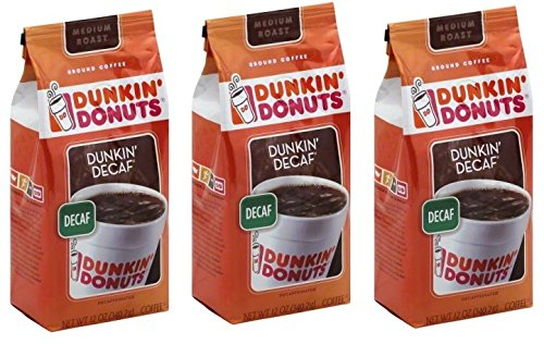 Dunkin' Donuts Dunkin' Decaf Decaffeinated Ground Coffee, 12 oz (Pack of 3)