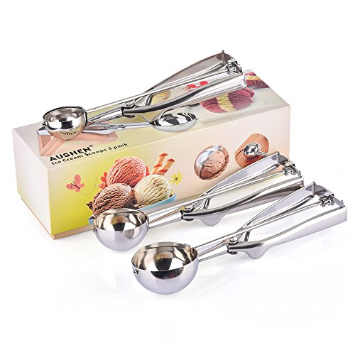 AUSHEN Ice Cream Scoop Cookie Scoop Stainless Steel Multi-function for Ice Cream Cookies and Fruit 3pcs Set