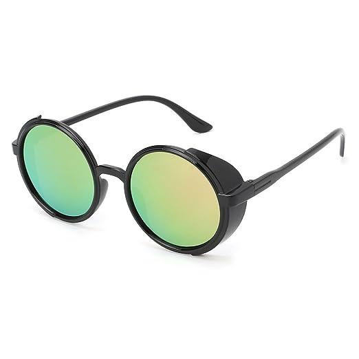 c8efd40a467e Amazon.com  LoXTong Steampunk Sunglasses Round Fashion Driving ...